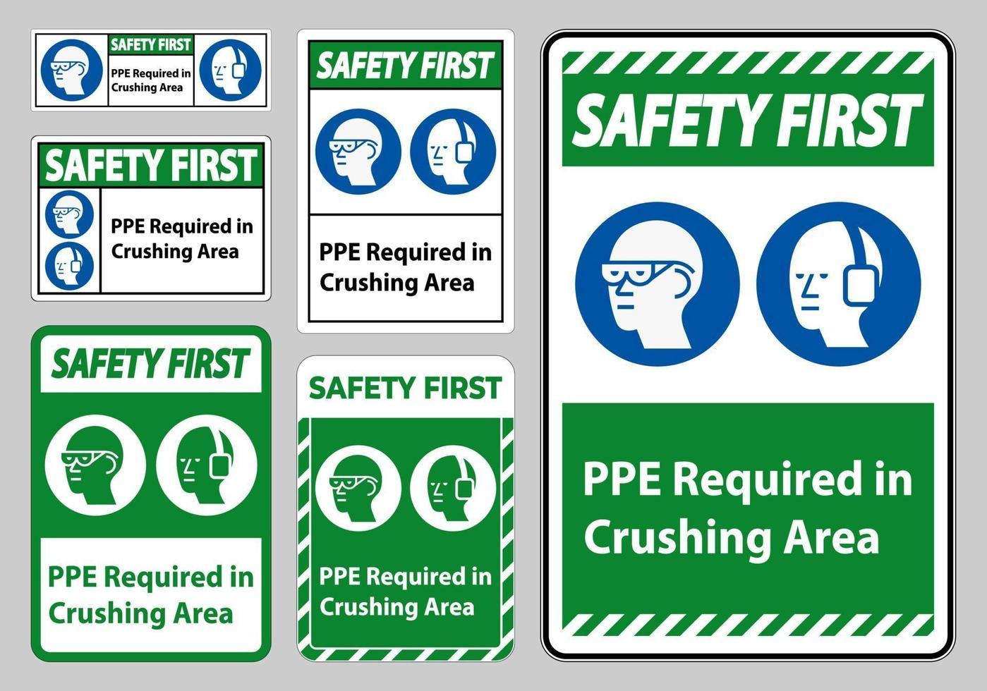 säkerhet första tecken ppe krävs i skyltuppsättning för krossningsområde vektor