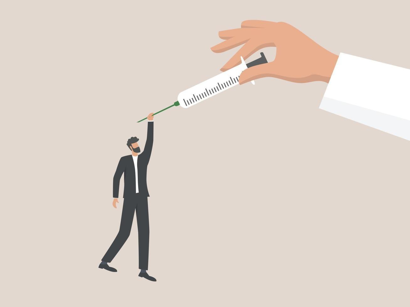 injektion för att stoppa koronaviruspandemin, män är beroende av vacciner vektor