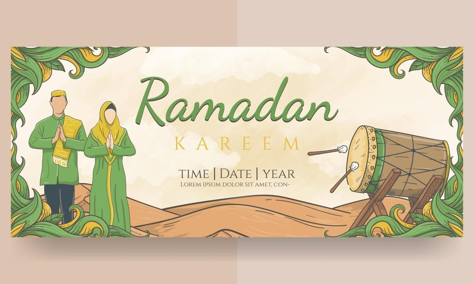 handritad ramadan kareem-banner vektor