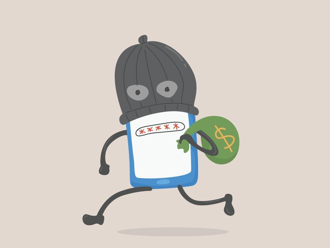 illustration av digitala pengar stöld, lösenord stöld, digital brottslighet. vektor