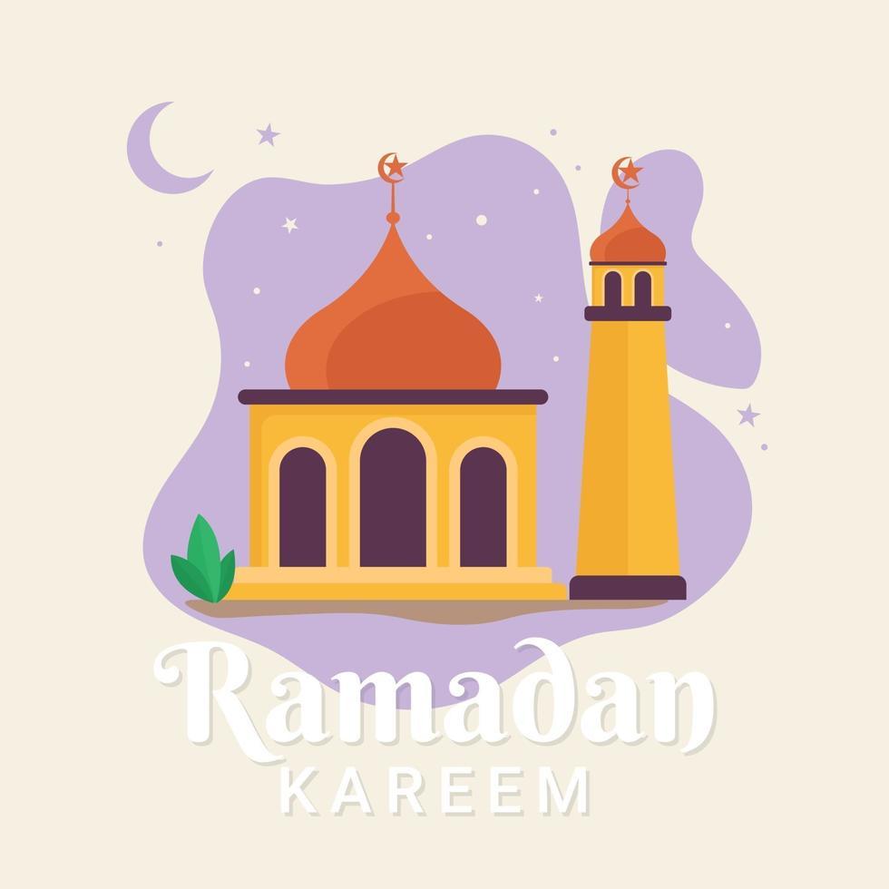 ramadan kareem hälsning platt design illustration vektor