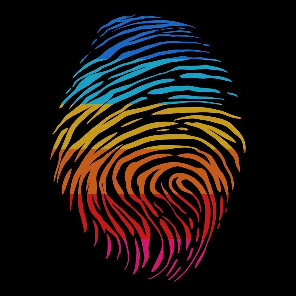 retro färg fingeravtryck vektorillustration vektor
