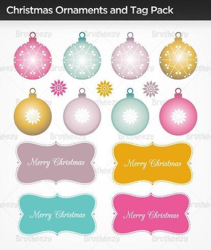 Julprydnader, Träd, & Tagg vektorpaket vektor