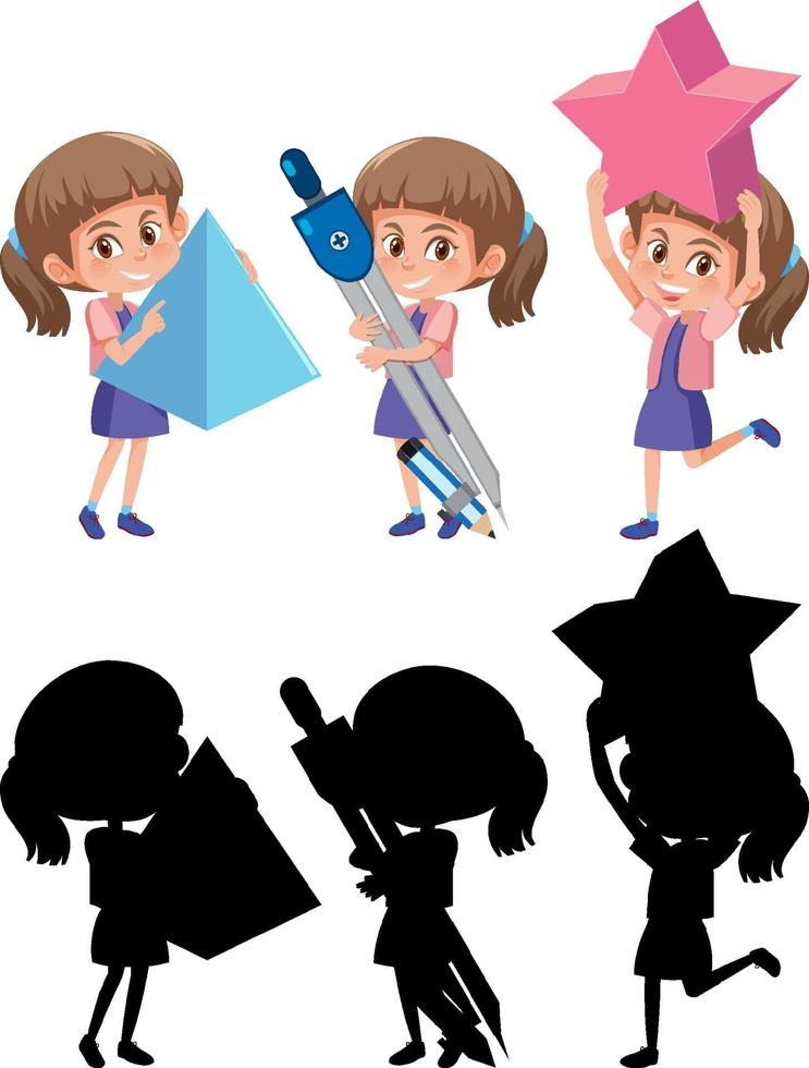 Satz eines Mädchens, das verschiedene mathematische Werkzeuge mit Silhouette hält vektor