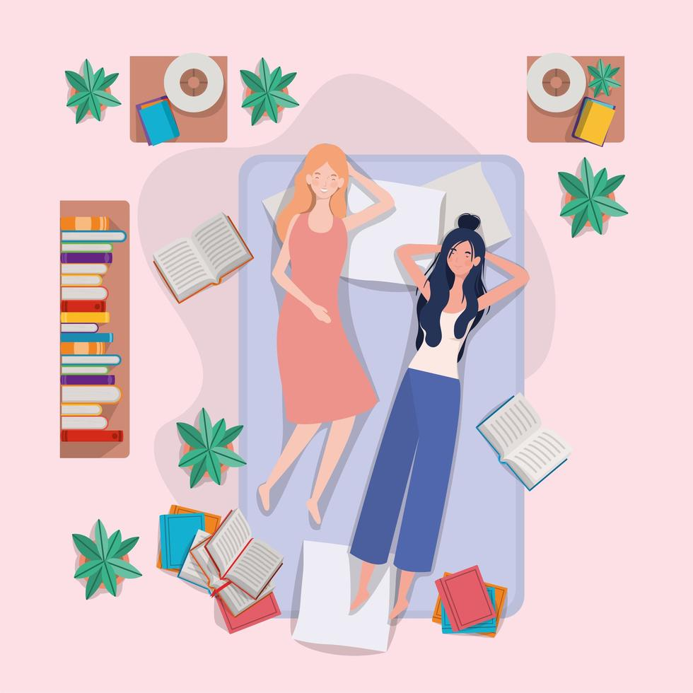unga kvinnor som kopplar av i madrassen i sovrummet vektor