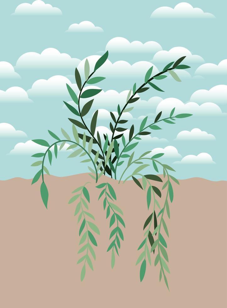 växt på en trädgårdsscen vektor