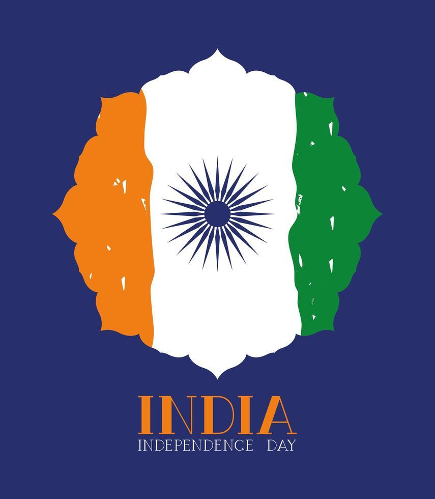 självständighetsdagen indisk flagg ram vektor
