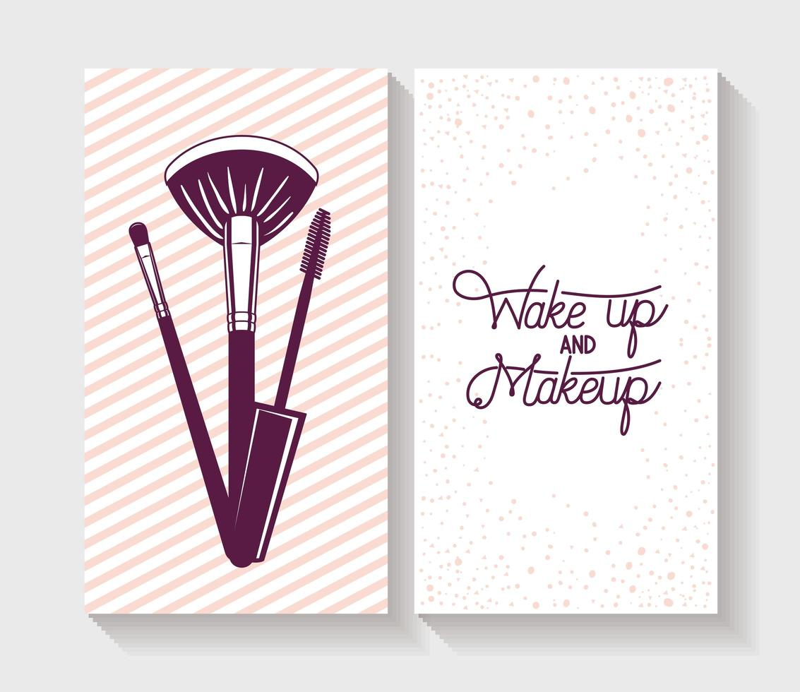 Make-up Pinsel Zubehör Kartenset vektor