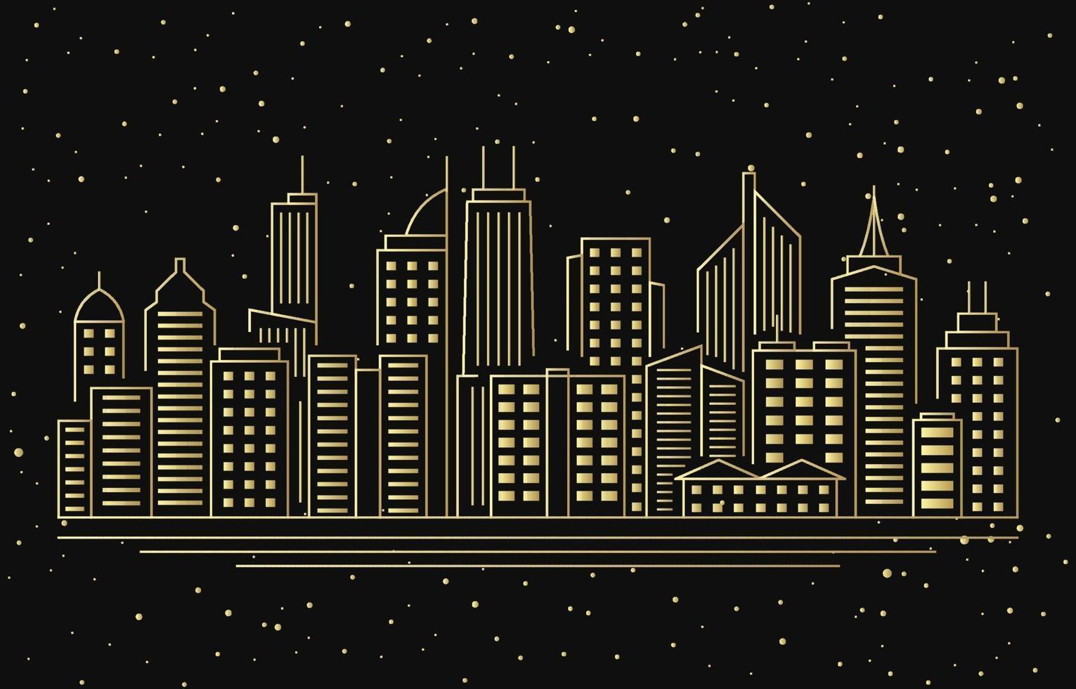 Nacht städtische Stadt Gebäude Stadtbild Landschaft Linie Illustration vektor