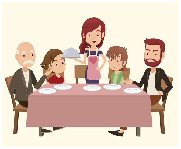 Familj på middagsbordet vektor