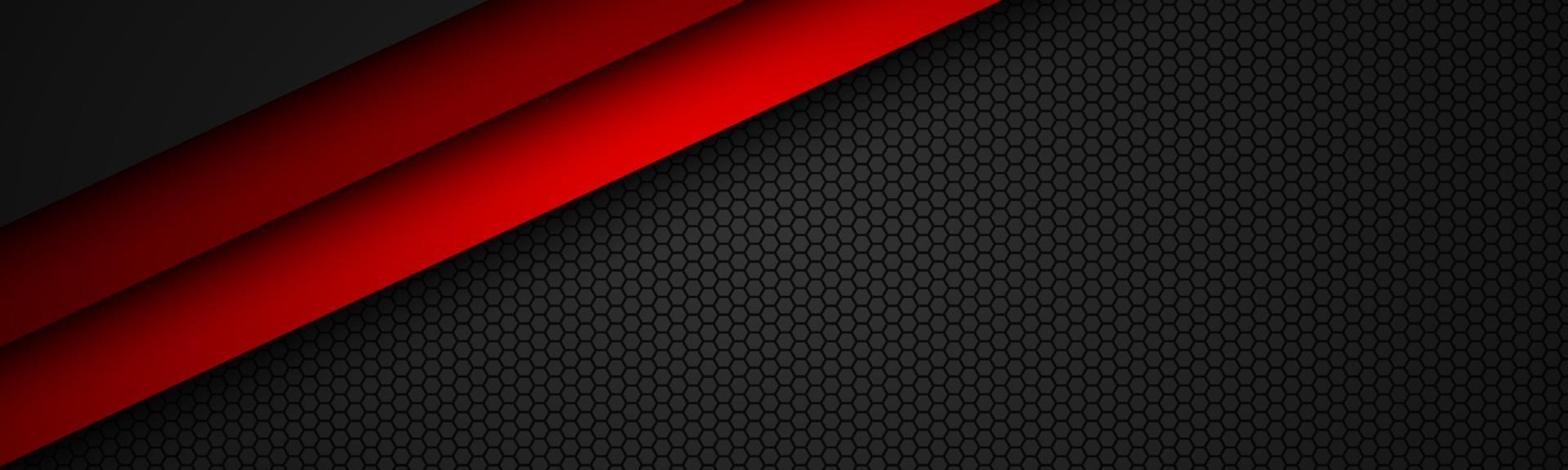 abstact röd linje vektorhuvud med åttkantigt nät. överlappar lager på svart banderoll med sexkantigt mönster. modern vektor bakgrund