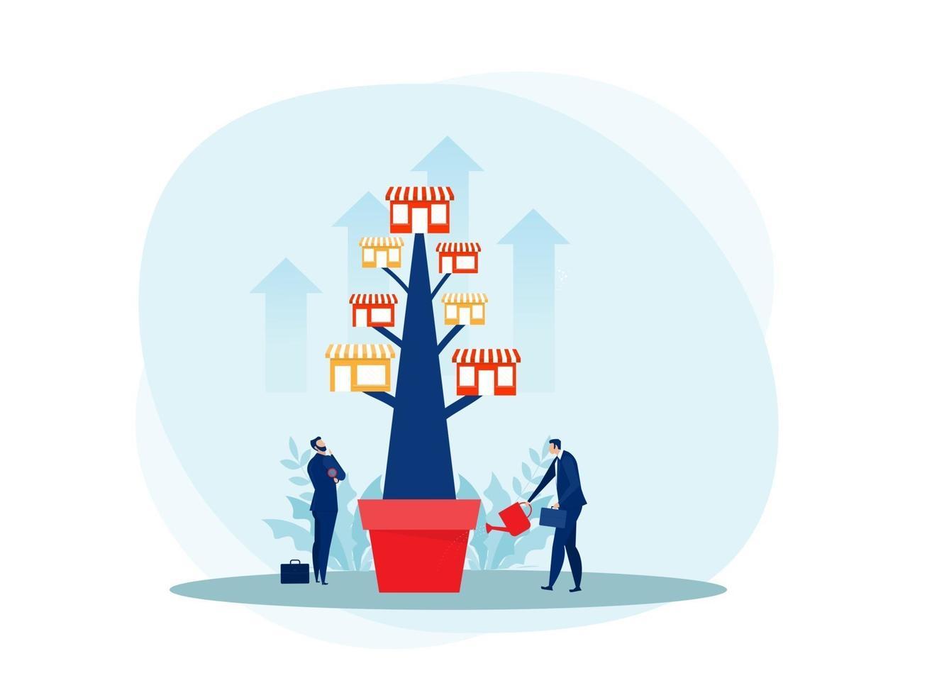 franchisebutik med tillväxtträd. fastighetsaffärer reklam sme platt vektorillustration. vektor