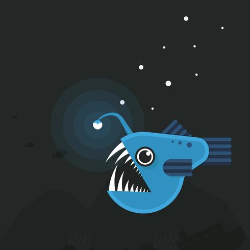 Djuphavsfiskillustration. Angler Fish. vektor