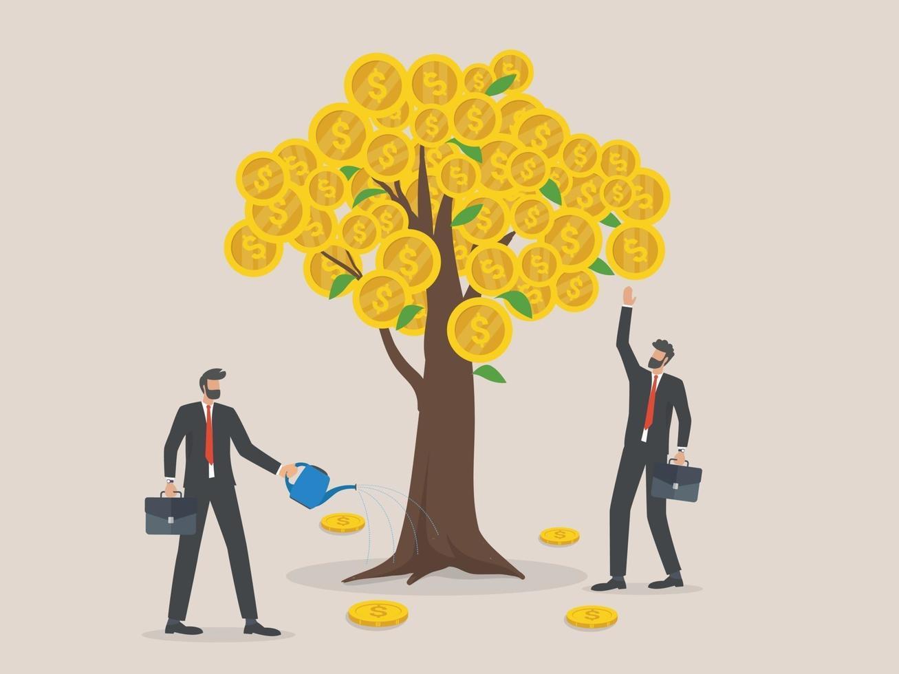 Metapher für Unternehmensinvestitionen, Gewinn und Einnahmen, zwei Geschäftsleute, die Geld aus dem Geldbaum gießen und pflücken. vektor