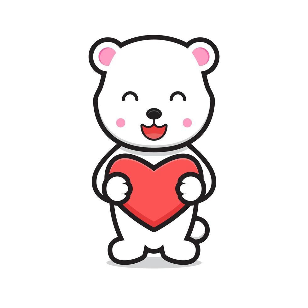söt vit björn seriefiguren håller hjärta vektor