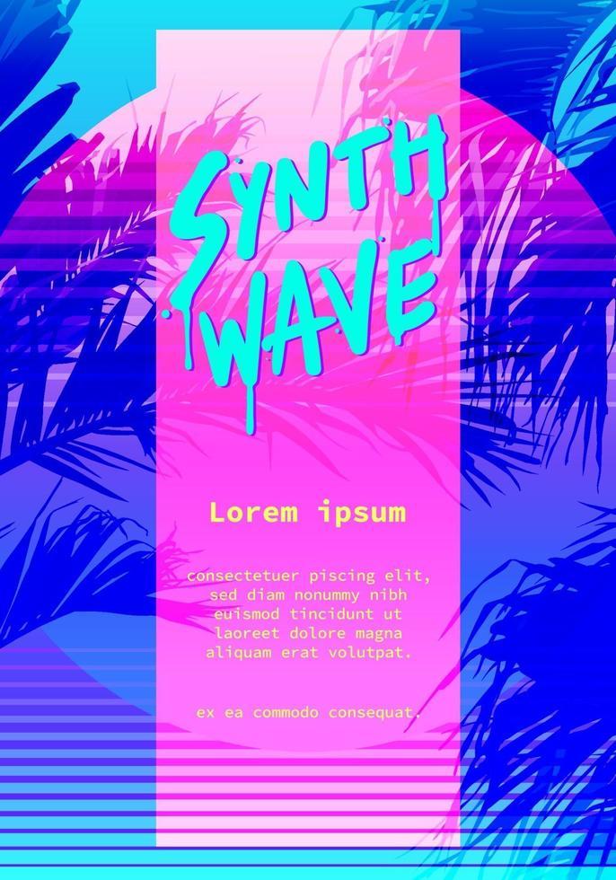 modern retro konstnärlig flygblad, affisch synthwave super neon färgglad 80-talet 90-talsstil. vektorgrafikmall vektor
