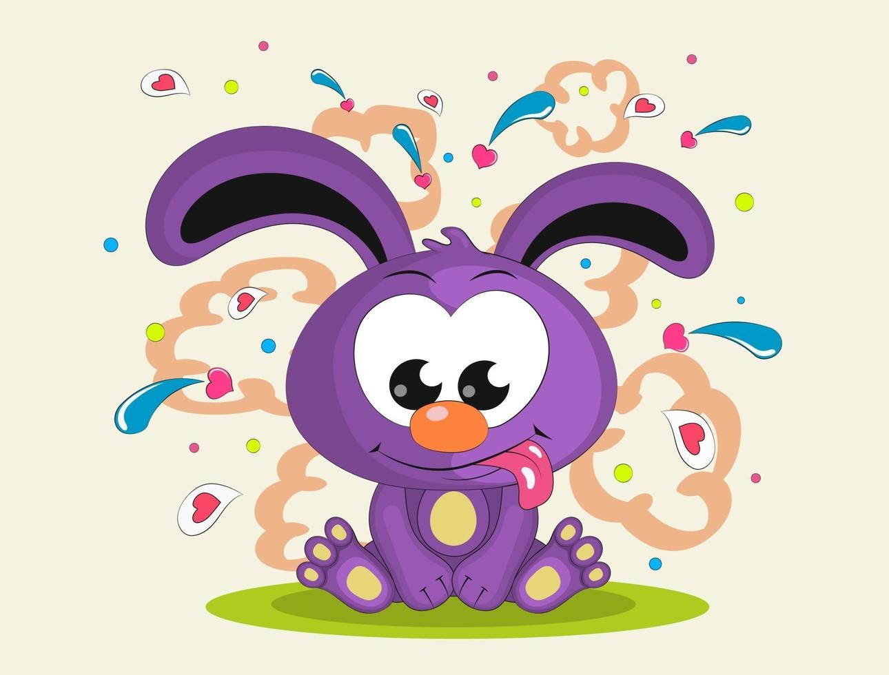 süßes Kaninchen sitzt und zeigt Zunge. Illustration im Karikaturstil lokalisiert auf weißem Hintergrund. vektor