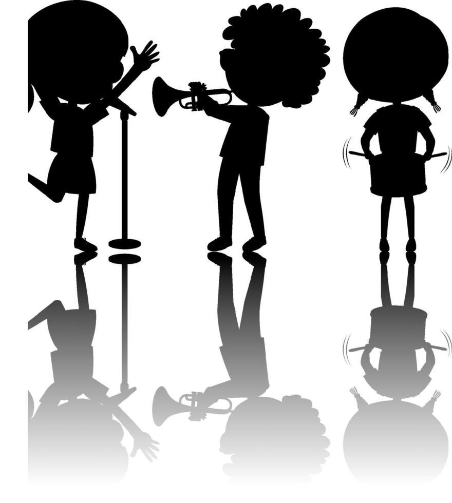 Satz Kinder Silhouette mit Reflex vektor