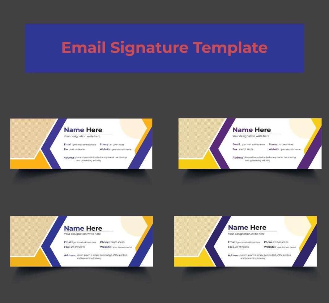 personlig företags e-post signatur mall design vektor