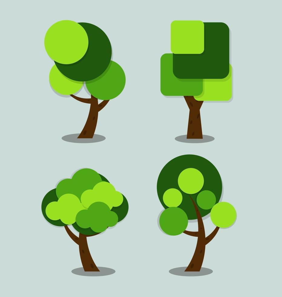 stiliserade gröna träd med bladformer vektorillustration vektor
