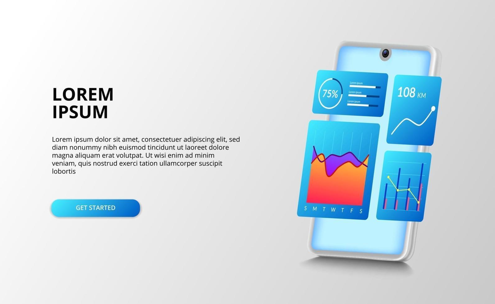 dataanalys ui instrumentbrädesdesign med diagram, procentrapport grafanalys för ekonomi, redovisning med 3d perspektiv smartphone vektor