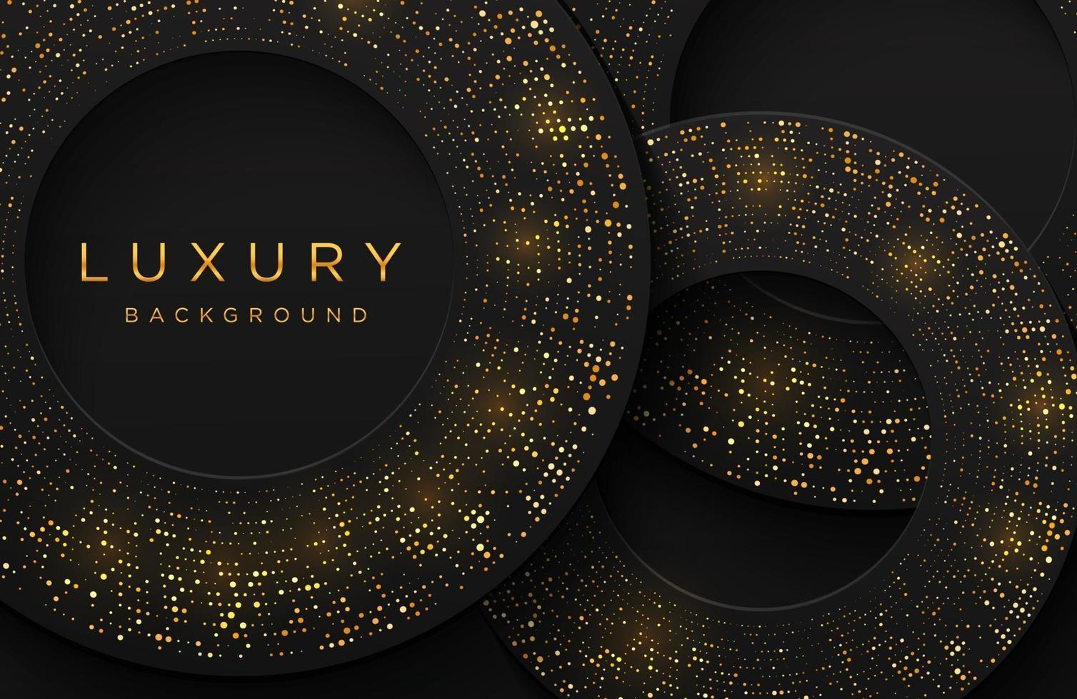 lyxig elegant 3D-bakgrund med skimrande guld prickade mönster isolerad på svart. abstrakt realistisk papercut bakgrund. elegant mall vektor