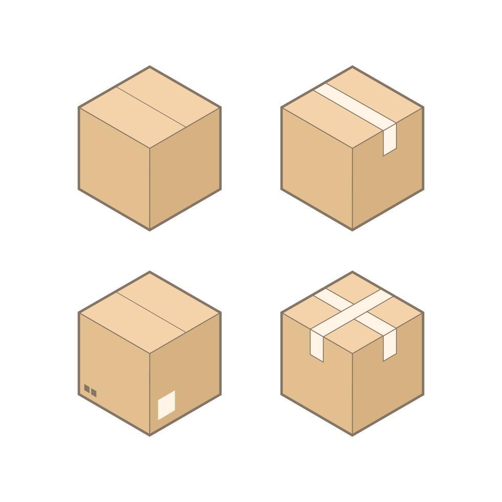 Satz von vier isometrischen Pappkartons lokalisiert auf weißem Hintergrund. vektor