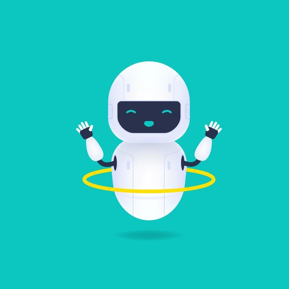 vit vänlig robot karaktär. söt och leende ai robot snurrar en ring. vektor