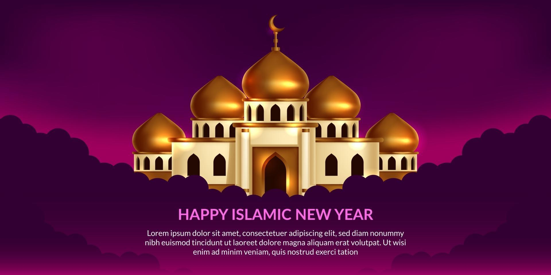 islamiskt nytt år. glad muharram. illustration av den gyllene kupolmoskén med lila bakgrund. vektor