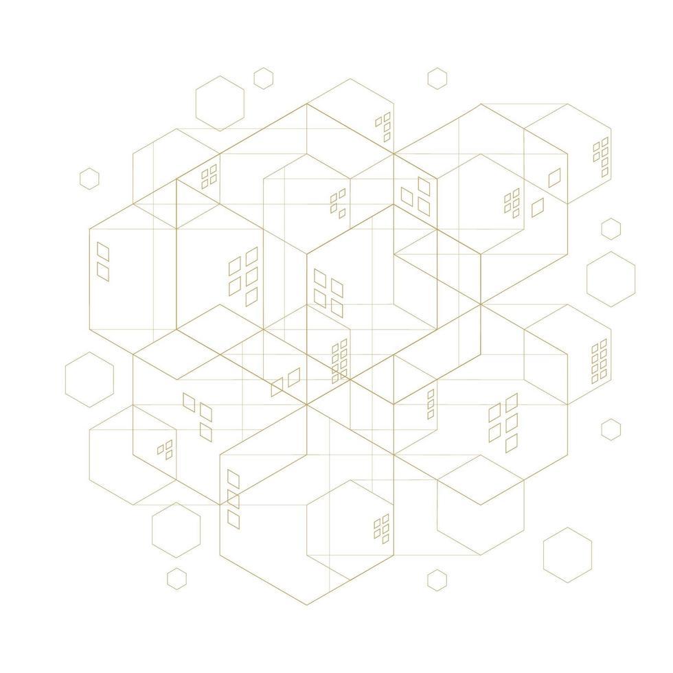 abstraktes geometrisches Sechseck. Linien minimalistisches Design. vektor