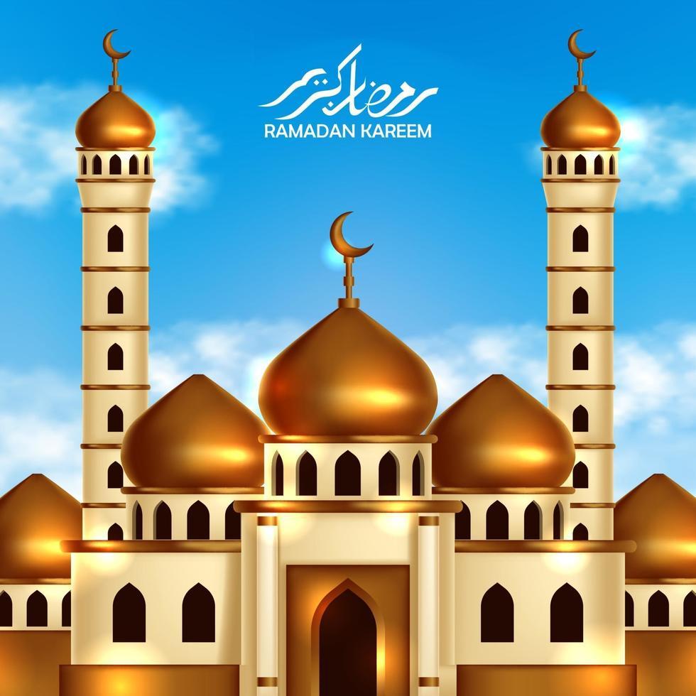 gyllene kupolmoskébyggnad med bakgrund för blå himmel och. islamisk händelse händelse månad affisch banner mall vektor