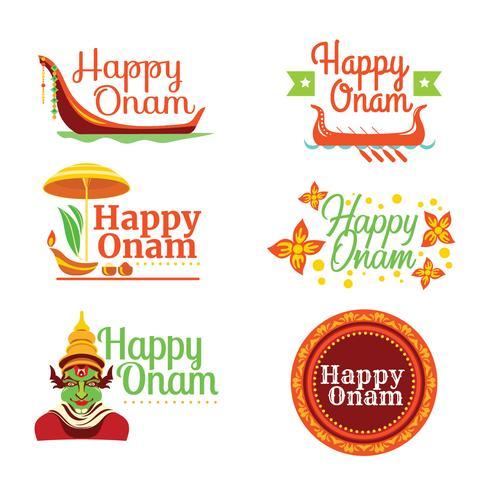 Ställ av Happy Onam Card vektor