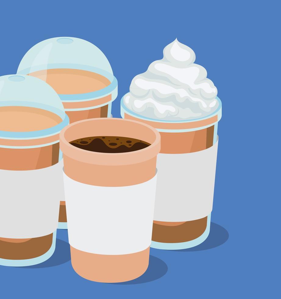 Eis und heiße Kaffeetassen Vektor-Design vektor