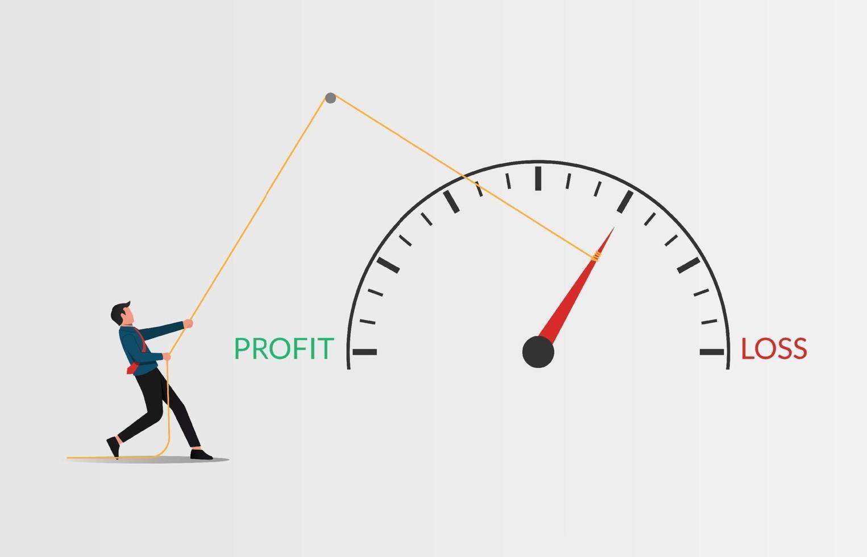 förhindra affärsförluststrategi vektorillustration. affärsman som drar pekaren meter förlust till vinst koncept. vektor