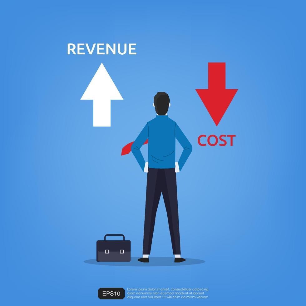 Stehende Ansichten des Geschäftsmannpfeils nach oben und unten für Einnahmen- und Kostensymbol. Geschäftskonzept Vektor-Illustration vektor
