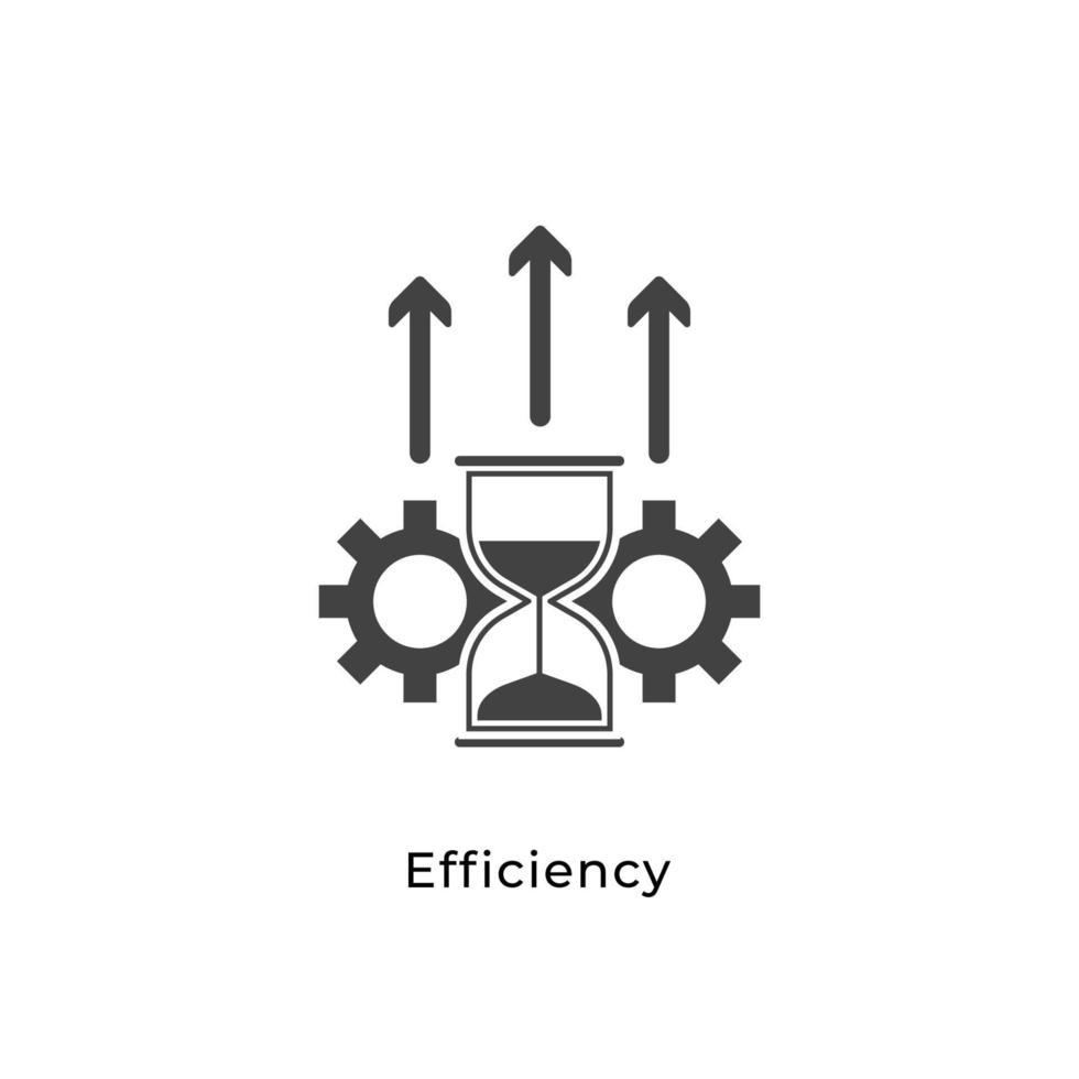 effektivitet ikon koncept. timglas, redskap och stiga pil symbol isolerad med vit bakgrund. kan användas för webbplats, mobil, ui. enkel element vektorillustration vektor