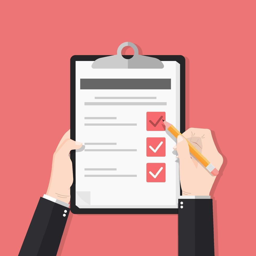 undersökningsformulär med pennavektorillustration. hand som håller och fyller checklistan på pappersark Urklipp. frågesportformidé, intervjubedömning, godkänd frågeformulär, isolerad på färgbakgrund. vektor