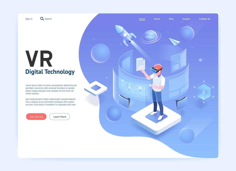 Virtual-Reality-Brille digitales Technologiekonzept. Vektor-Illustrationsgrafik. vektor