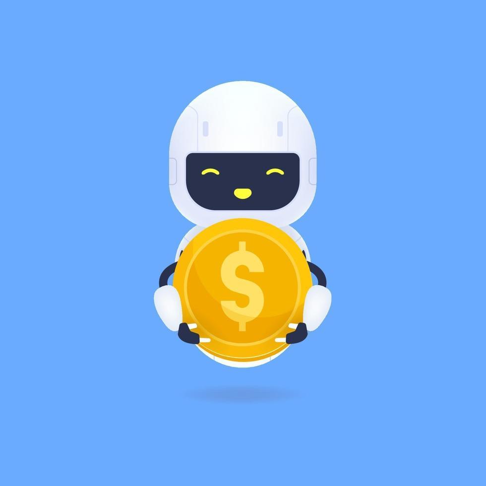 vit vänlig robot som håller ett guldmynt. vektor