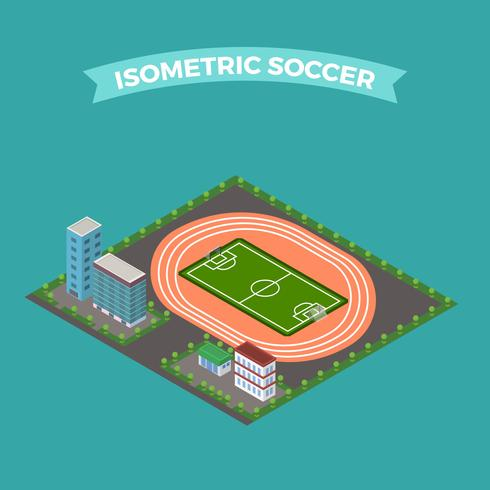 platt isometrisk fotbollsstadion vektor illustration