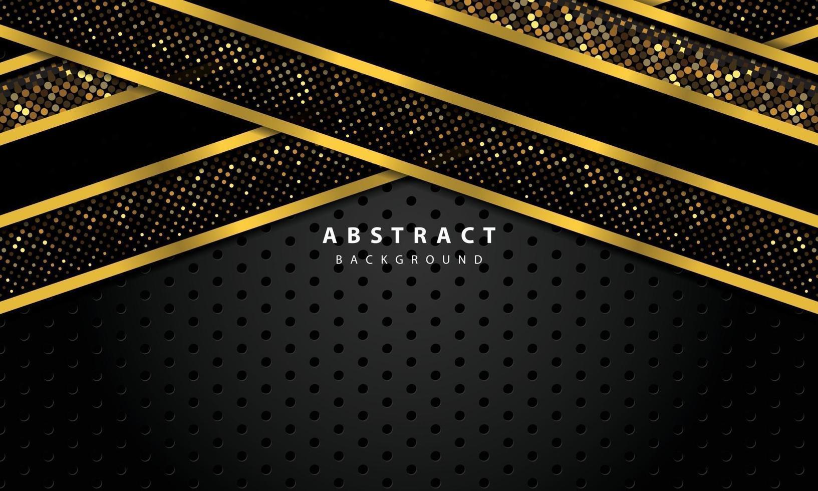 abstrakt bakgrund med svarta överlappande lager. konsistens med guldlinje och guld glitter prickar element dekoration. vektor