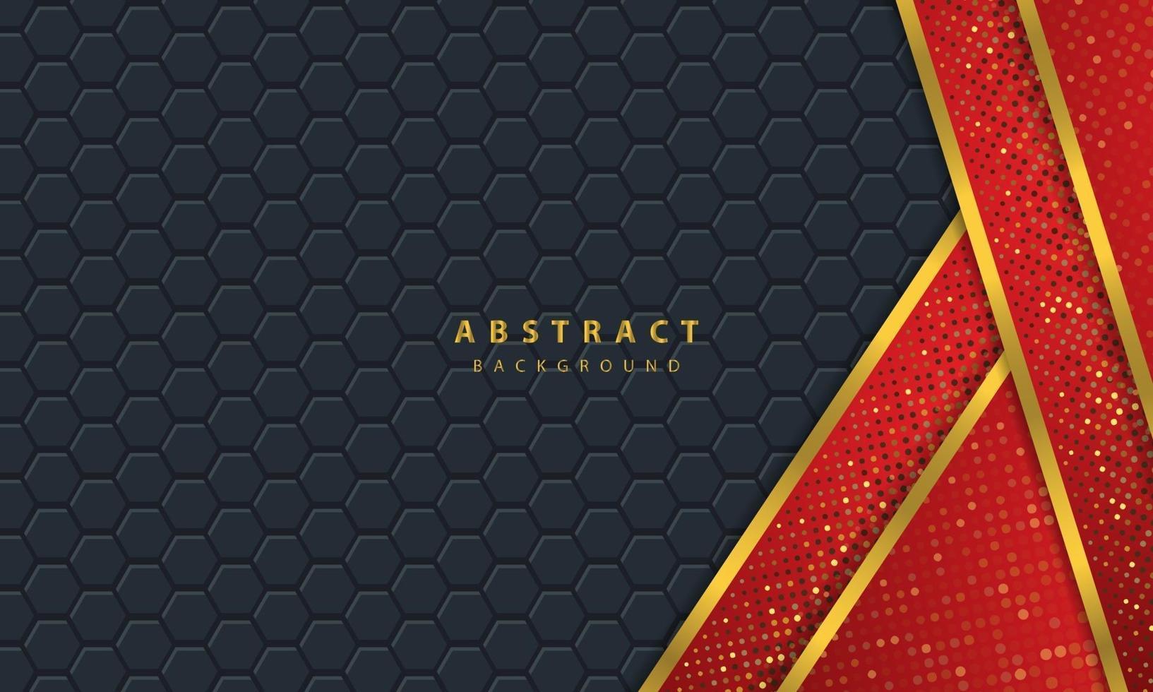 mörk abstrakt bakgrund med svarta överlappande lager. konsistens med gyllene linjen effekt element dekoration. röd bakgrundsvektor. vektor