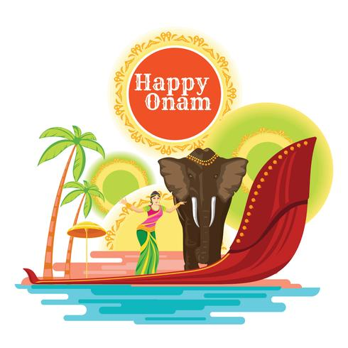 Happy Onam Holiday för South India Festival vektor