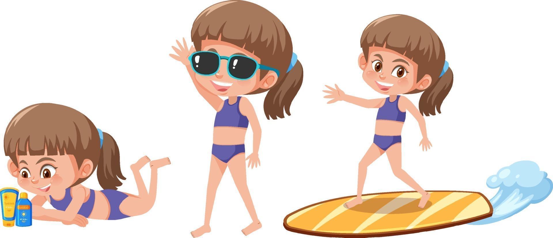 Satz einer Mädchenzeichentrickfigur mit verschiedenen Positionen im Sommerthema vektor