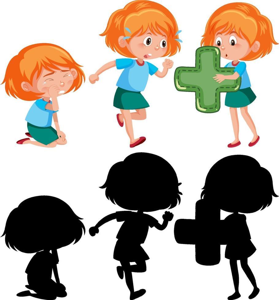 Satz eines Mädchens, das verschiedene Aktivitäten ausführt vektor