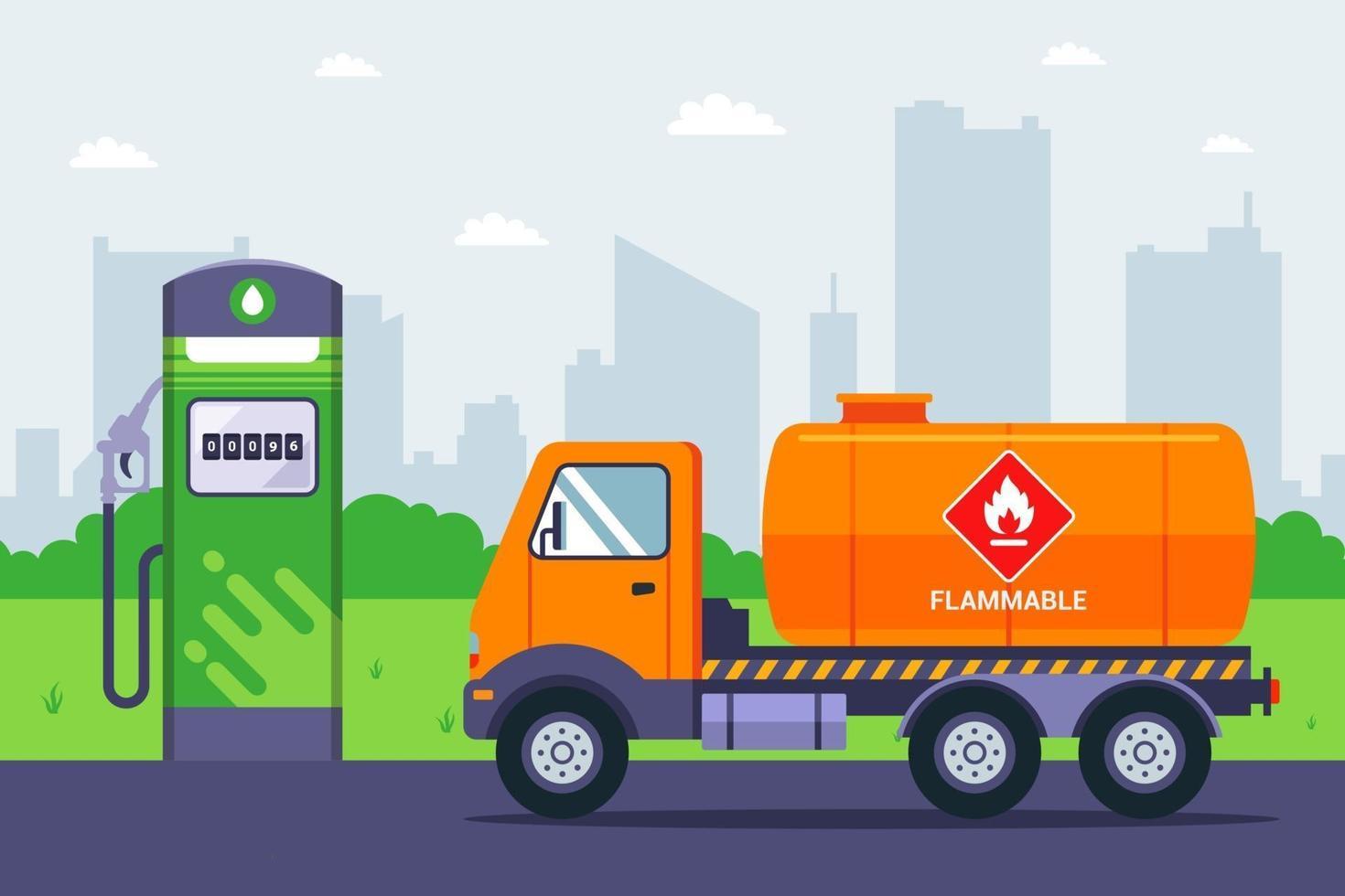 Der Tankwagen kam an der Tankstelle an. Transport von Benzin per LKW. flache Vektorillustration. vektor