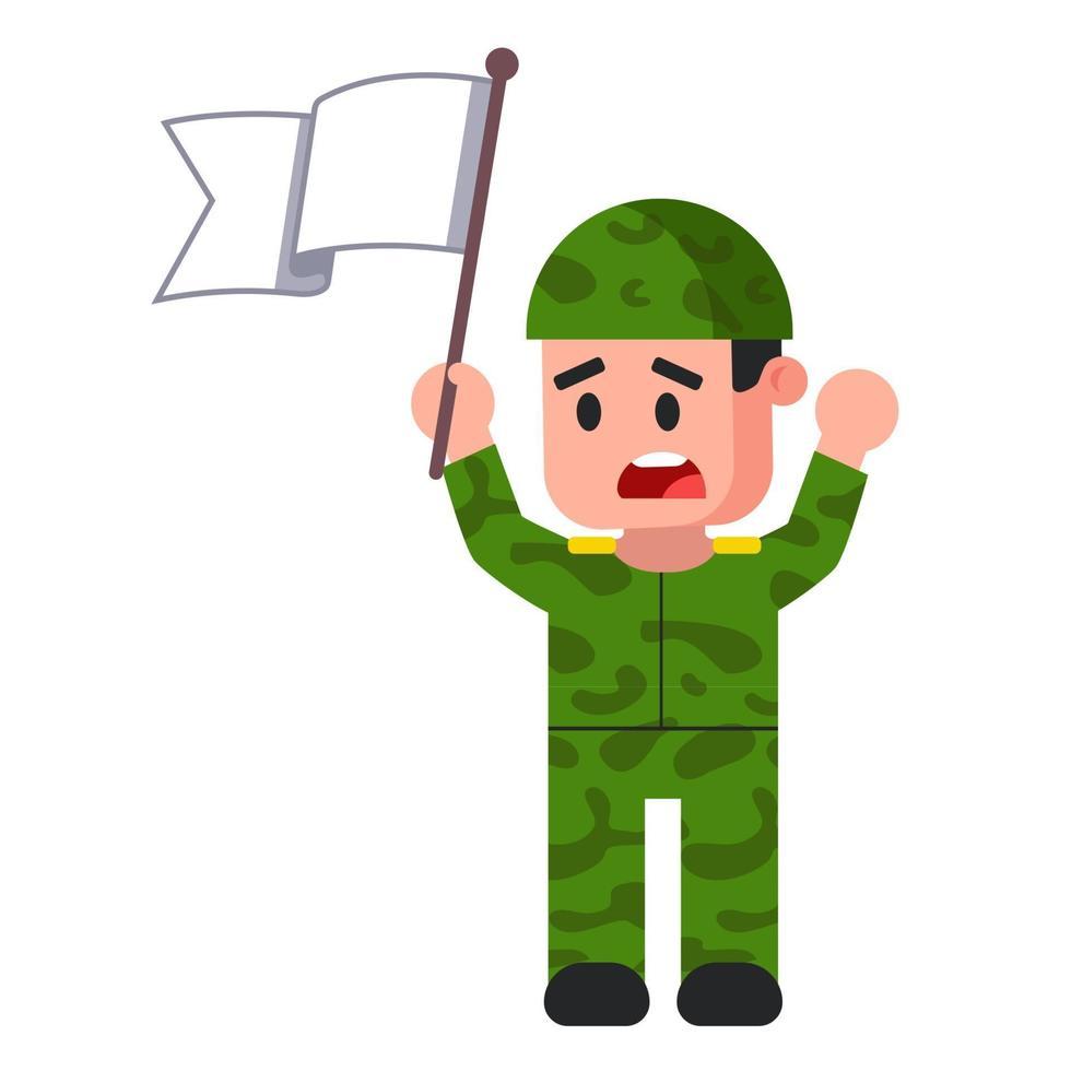Soldat mit weißer Flagge. grüne Tarnform. Kapitulation. flache Vektorillustration. vektor