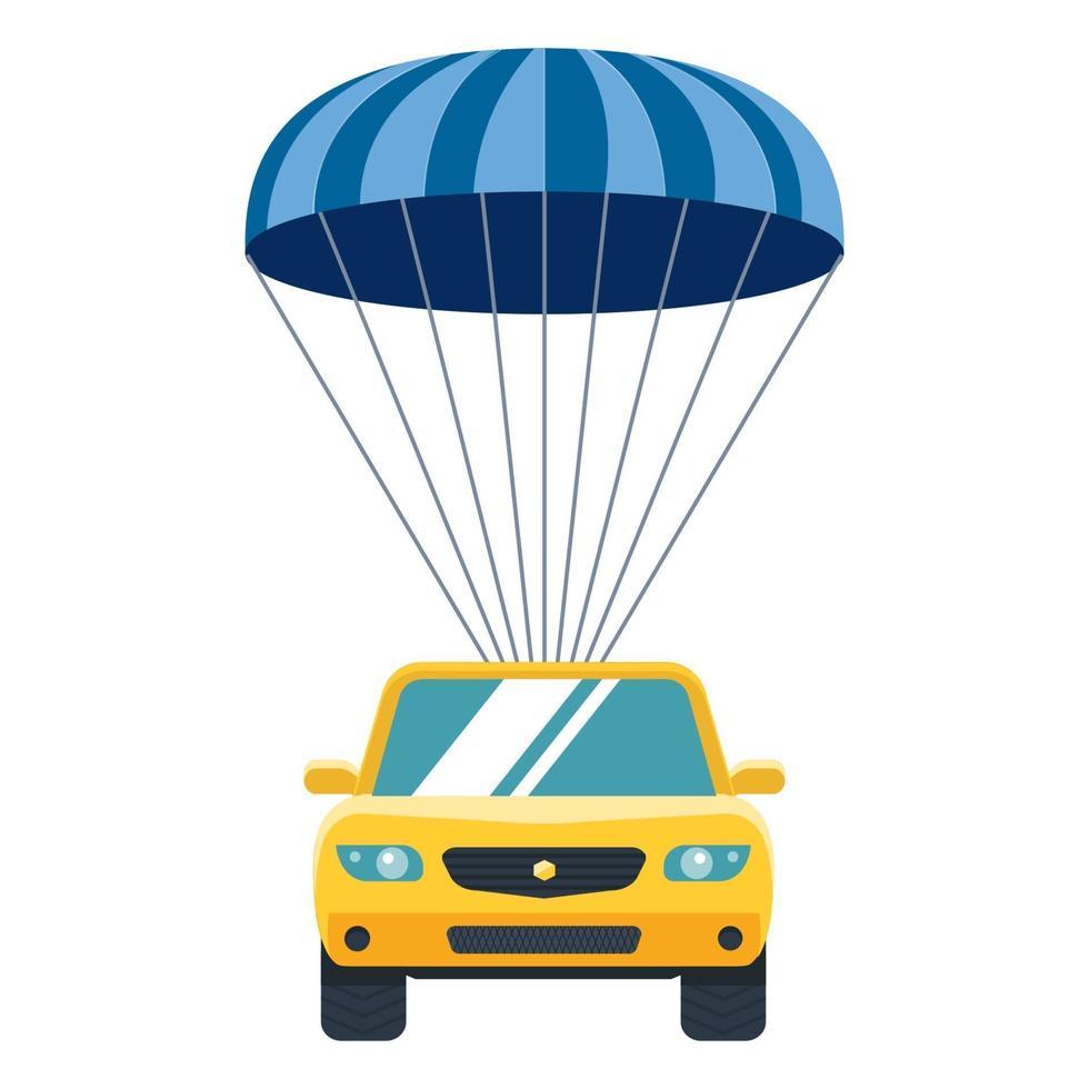 gelbes Auto steigt mit dem Fallschirm vom Himmel auf die Erde ab. Sachversicherung. flache Vektorillustration. vektor
