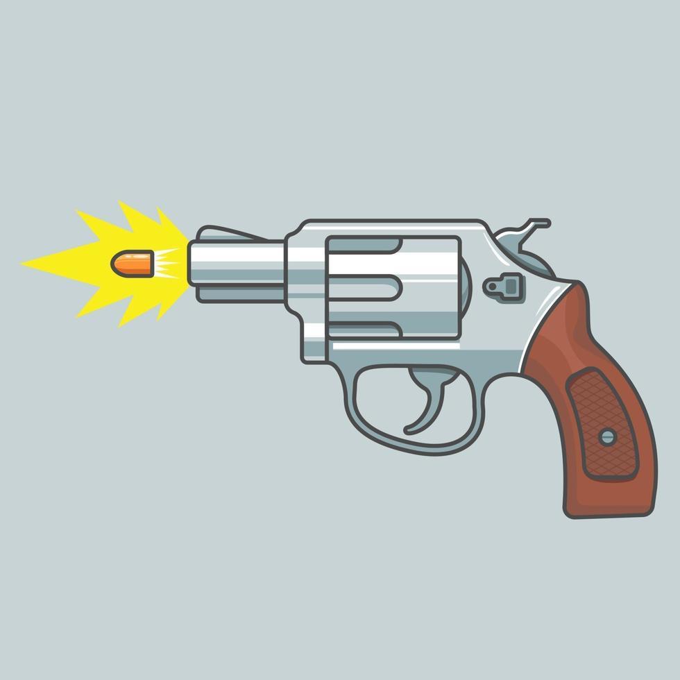 Waffenrevolver schießt. fliegende Kugel. Feuerschuss. flache Vektorillustration vektor