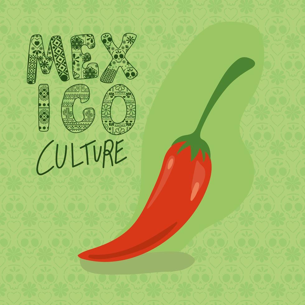 Mexiko-Kulturbeschriftung mit Chili-Vektorentwurf vektor